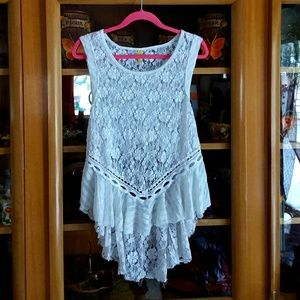 FREE PEOPLE embroidered lace floral detail tunic